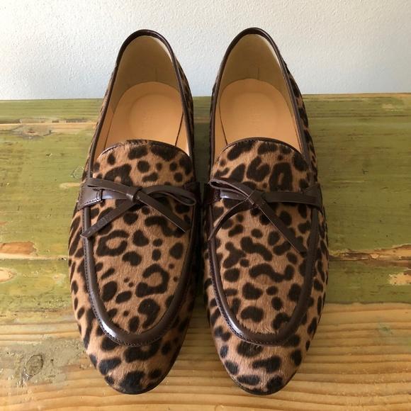 191bacfe653 NWT J. Crew Leopard Calf Hair Academy Loafers Sz 8